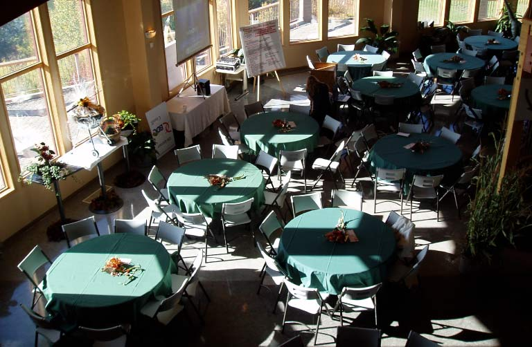 View of Banquet Tables from Second Floor Balcony Inside Centre 2000 Grande Prairie